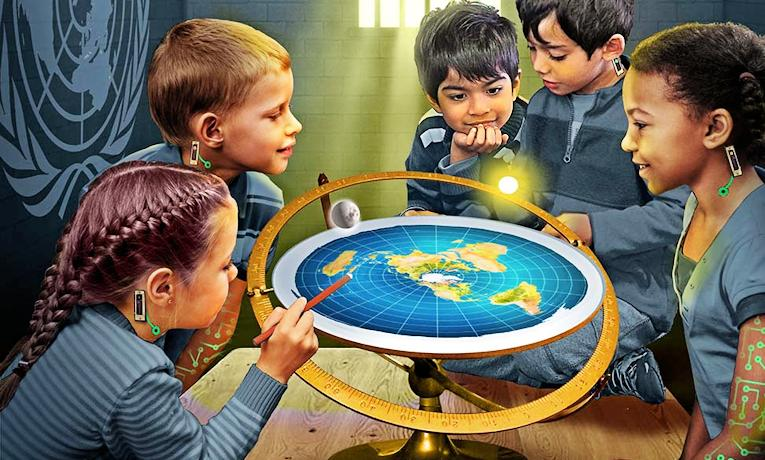 Kids around a flat Earth
